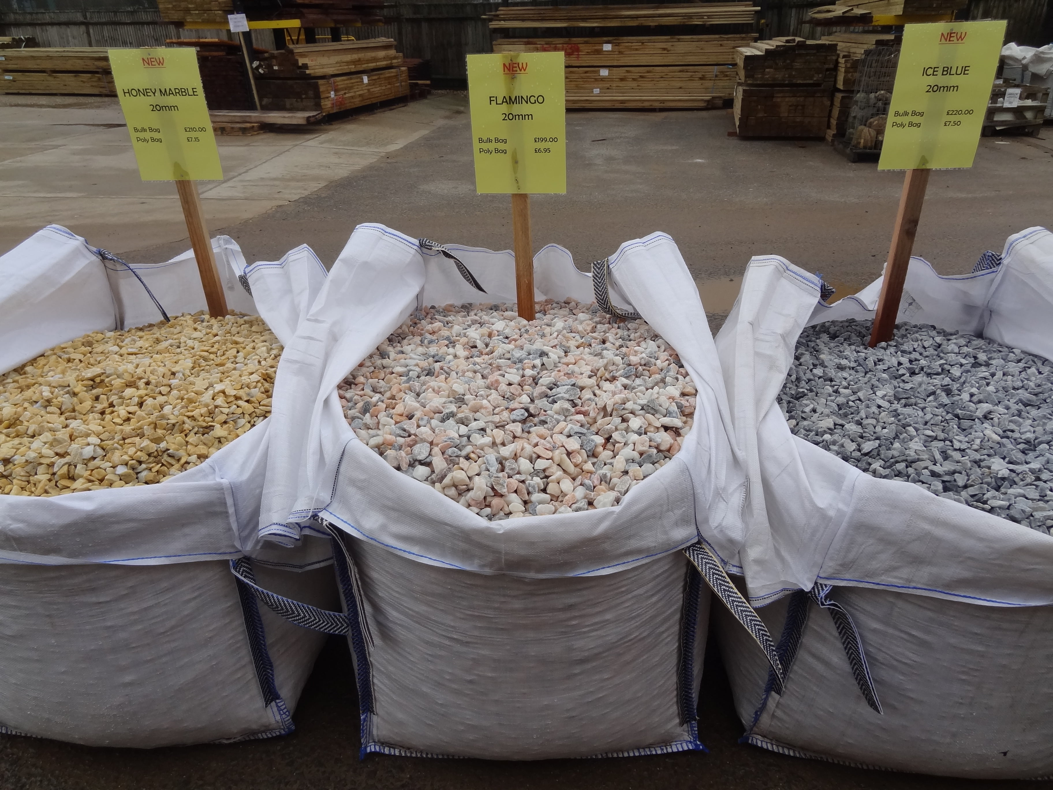 New Marble 20mm Chippings.  From left to right; Honey, Flamingo, Ice Blue