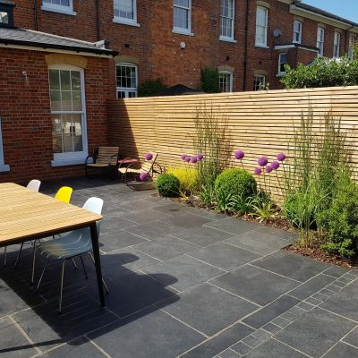 Black Limestone installed by CMA Garden Design