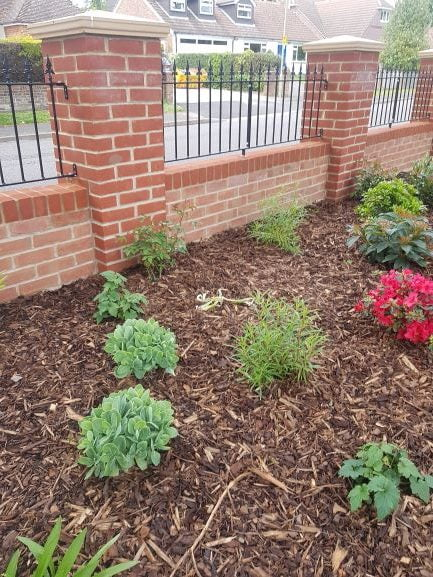 Flower bed topped with ornamental bark