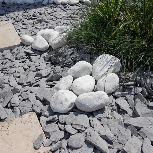 White Cobbles with slate chippings and garden paviours