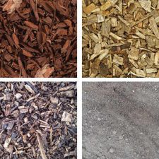 Bark, soil and compost