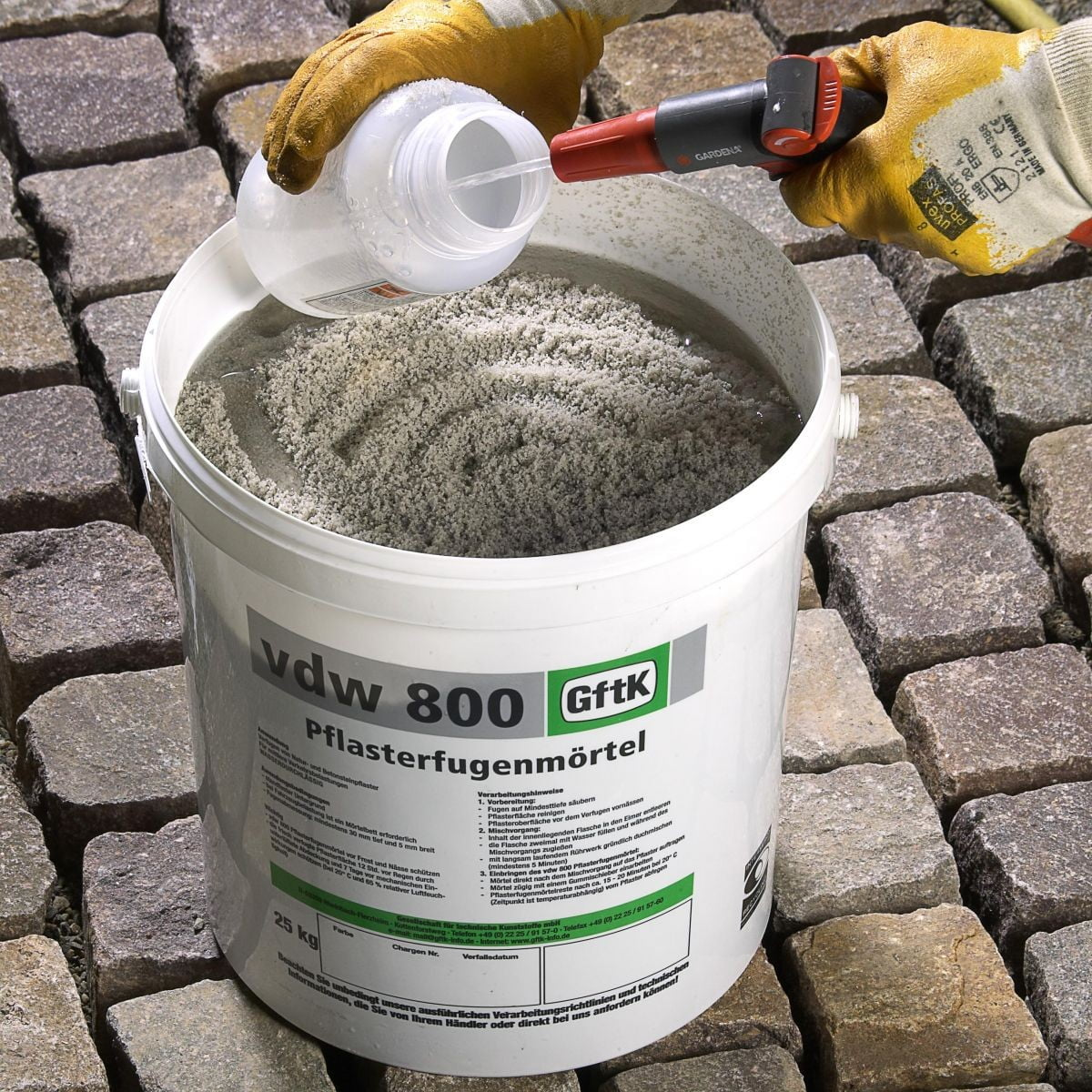 VDW jointing compound and natural stone setts