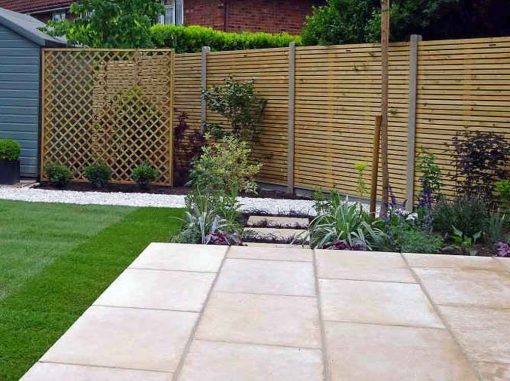 Egyptian Limestone Sinai Pearl paving with lawn and garden border
