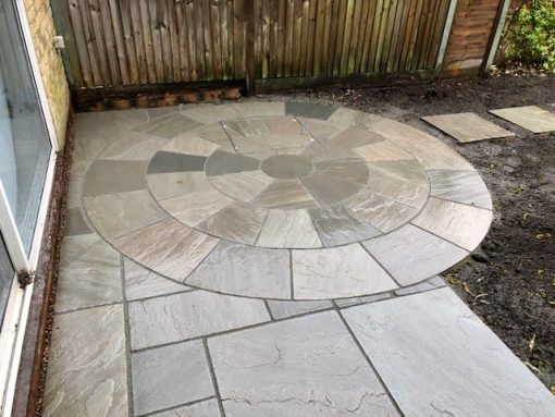 Natural Sandstone Circle Silver Grey (installed by Greenbee Gardening)
