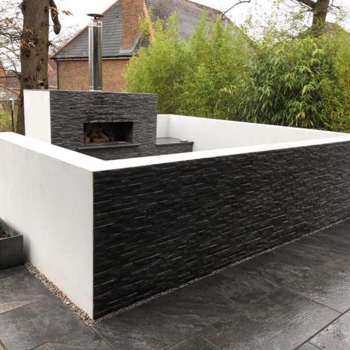 Rock Black Cladding installed by TAW Garden Landscapes