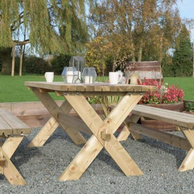 classic garden bench and table set