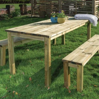 essential table and bench set