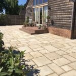 Limestone effect paving in traditional laying pattern