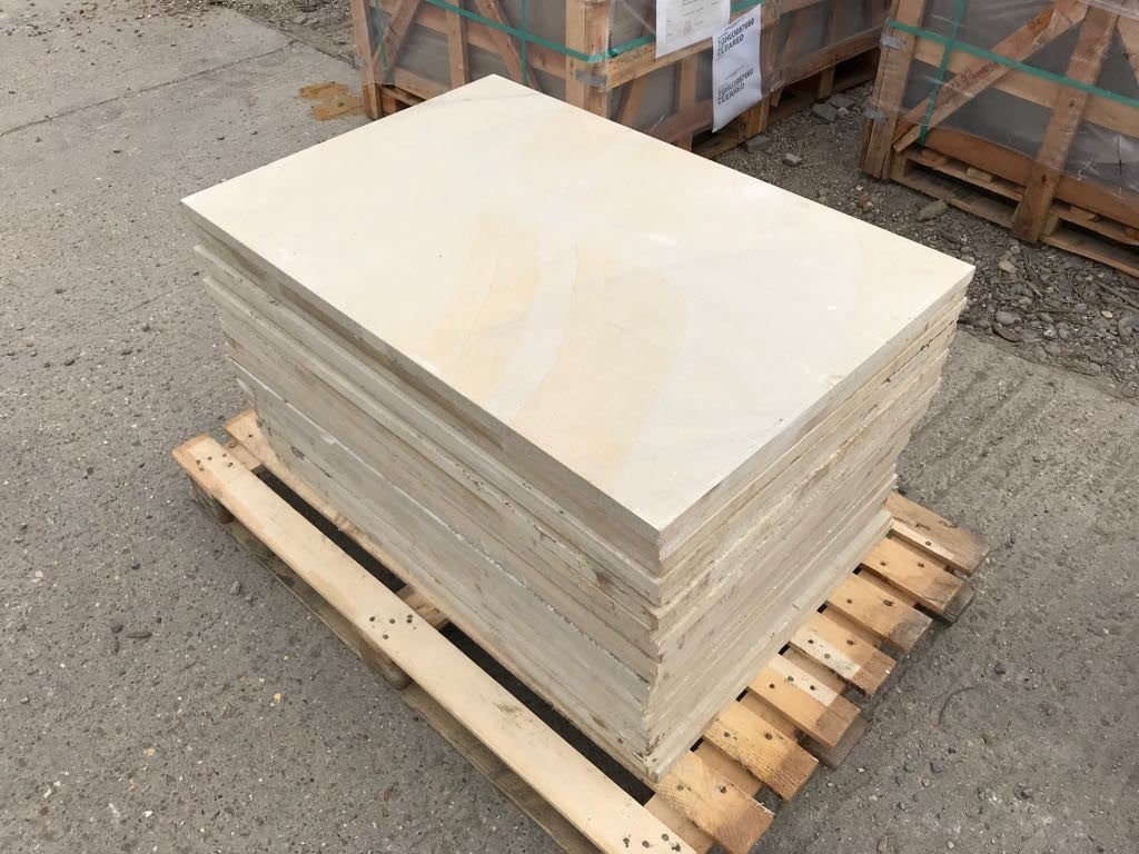Pallet of paving slabs