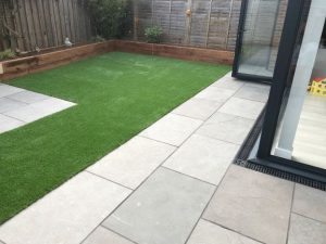 Andhra Grey Natural Limestone paving in small garden