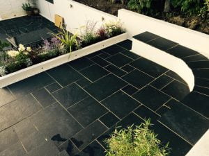 Black Limestone patio courtesy of RE Landscapes