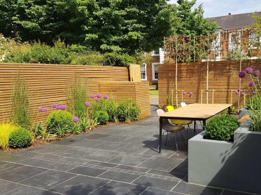 50x25mm Brown Slatted Fencing by CMA Garden Design