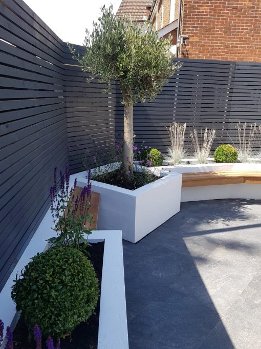 50x25mm Painted Slatted Fencing by CMA Garden Design