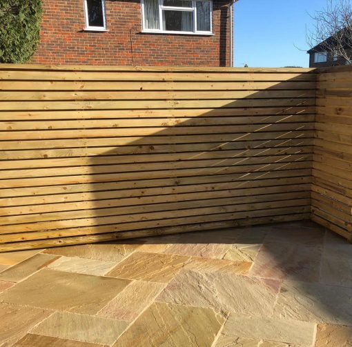 75x25mm Green Slatted Fencing by Winslade Landscapes