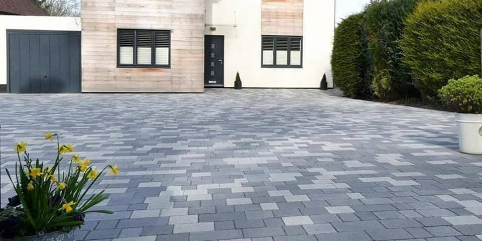 Block paved driveway in tones of grey