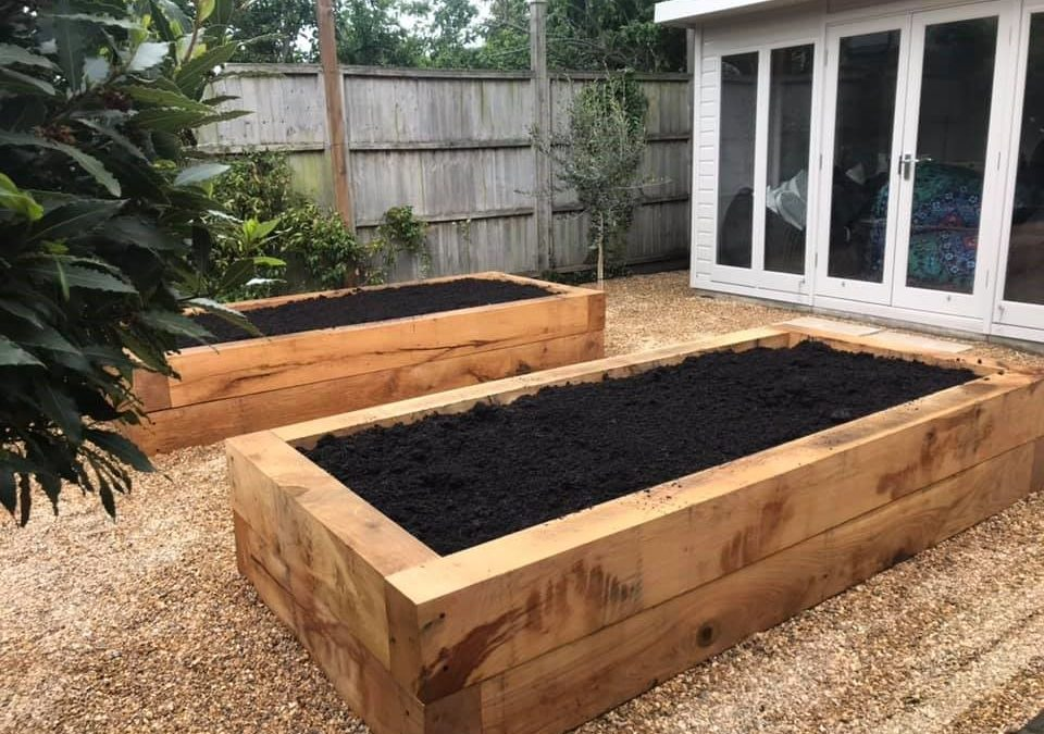 Sleeper planter bed courtesy of NSM Fencing and Landscaping