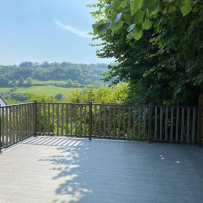 Grey composite decking with balustrades