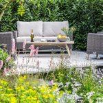 Pearl White Sandstone patio with Black Granite plank edging Hampton Court 2019