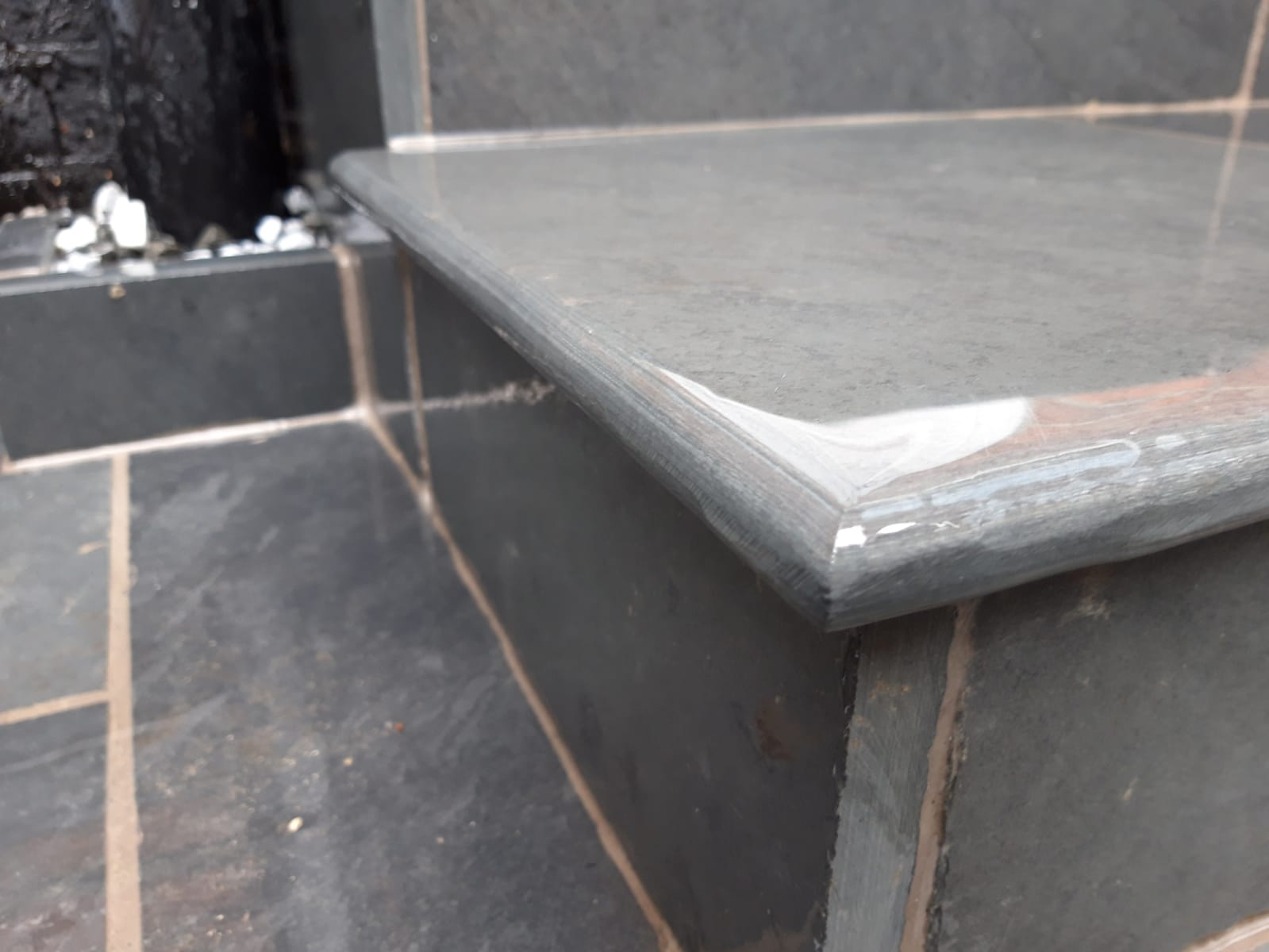 Brazilian Black Slate bullnose step