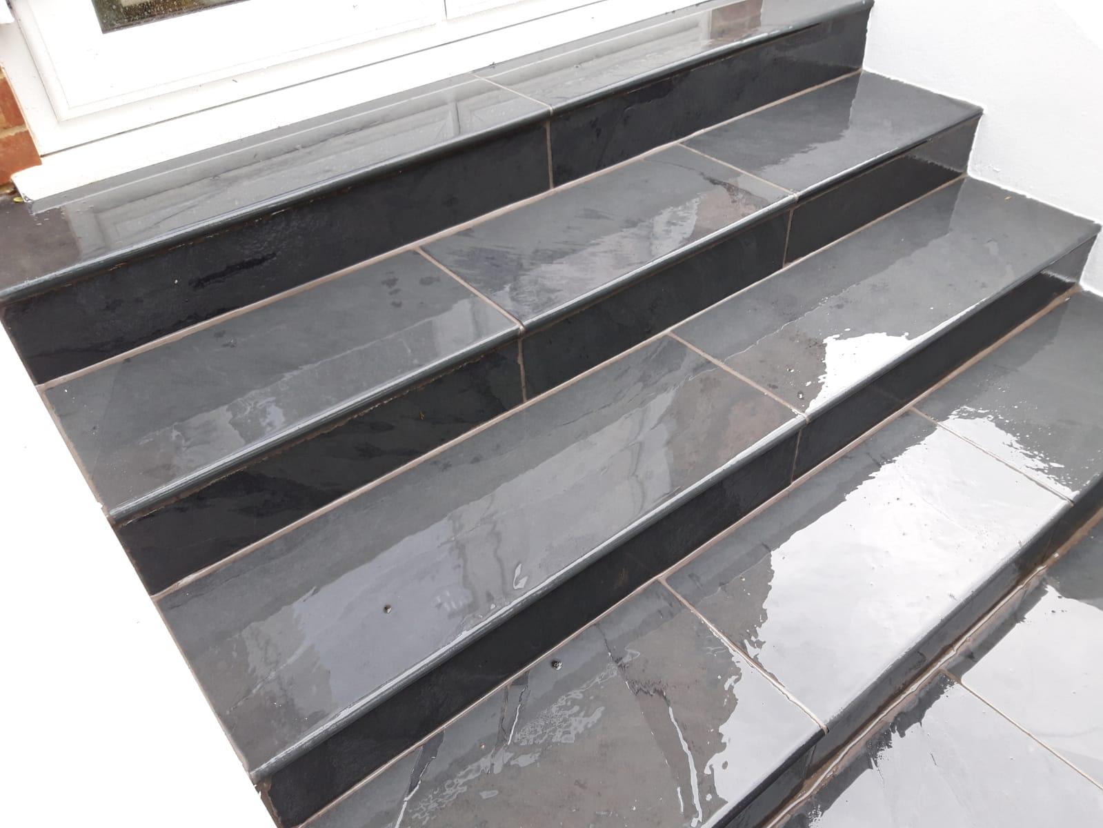 Brazilian Black Slate bullnose steps