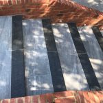 Natural granite steps with porcelain paving