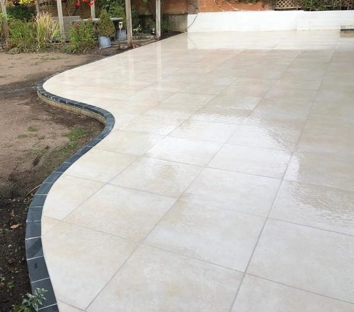 Kebur stone buff pro porcelain cut with a curved edge