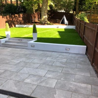 Nevis Grey porcelain courtesy of MJB Landscapes & Driveways