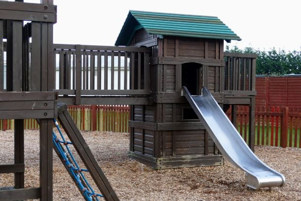 Children's play area with bark chippings