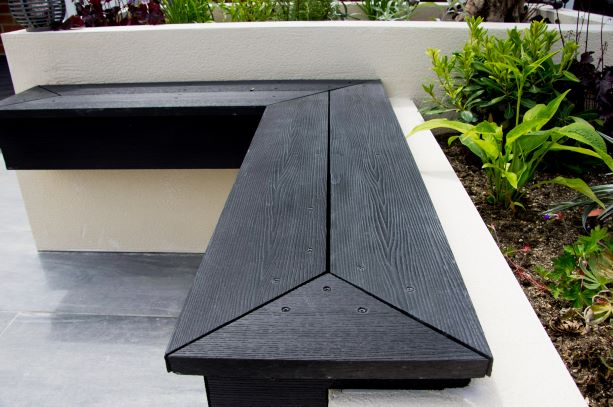 Dark grey composite decking garden bench seat