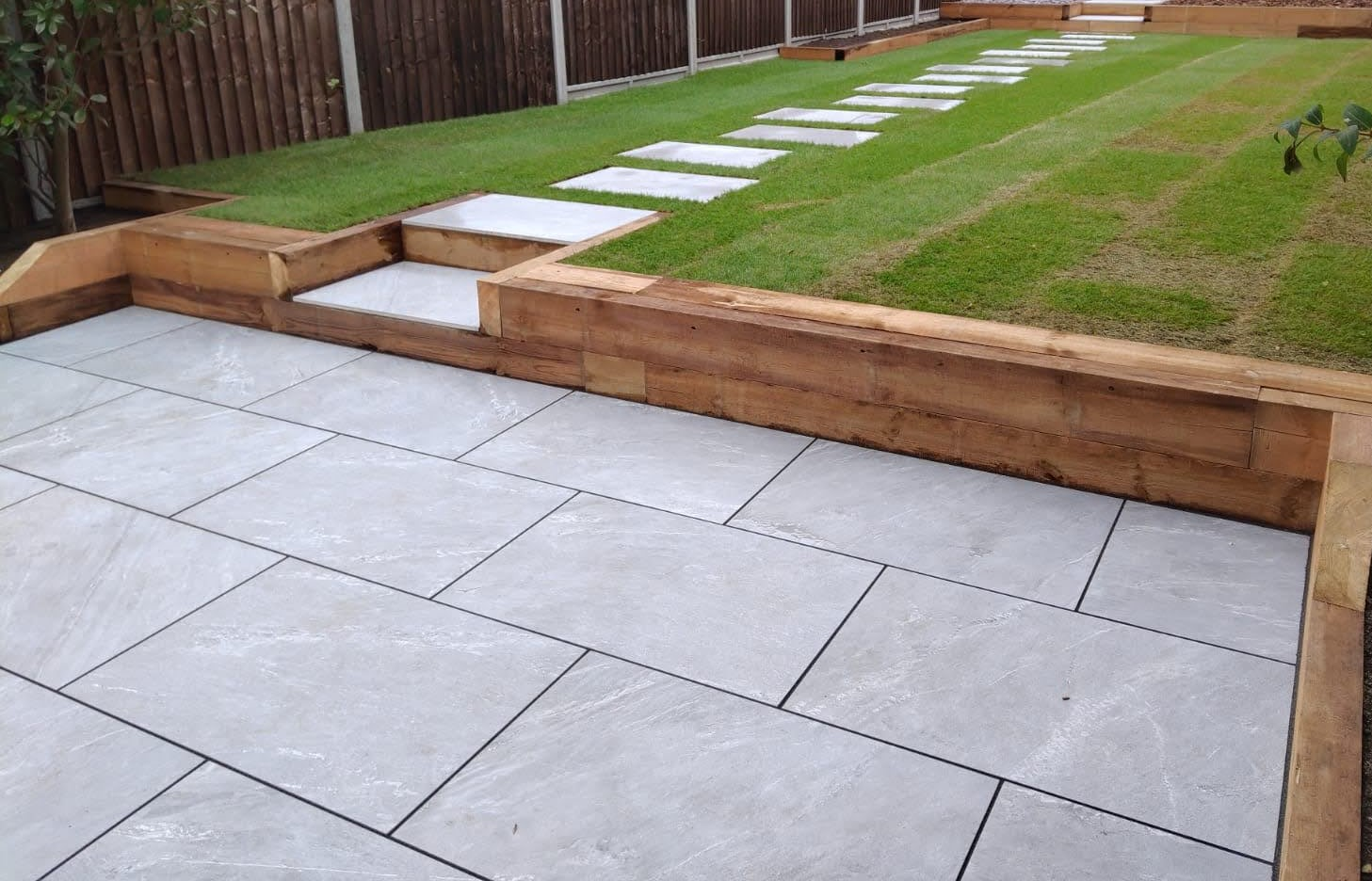 Garden sleepers retaining wall and bench with porcelain patio