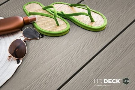 Decking with flip flops and sunglasses