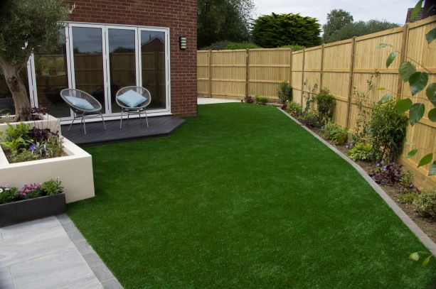 Artificial grass with planted border
