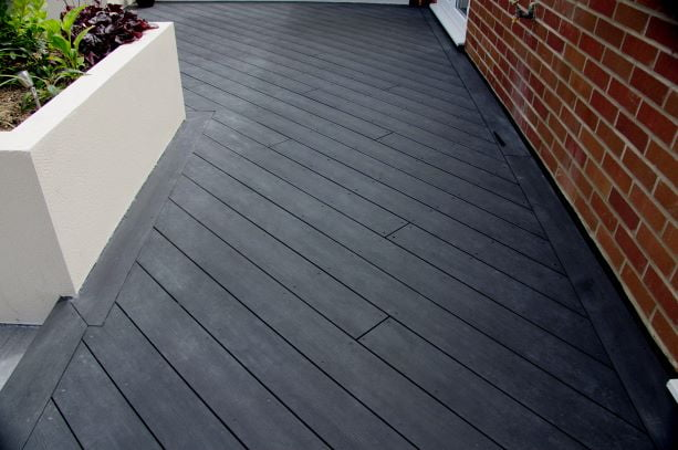 Charcoal composite decking on the diagonal