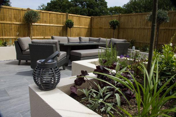 Rendered planters and garden seating
